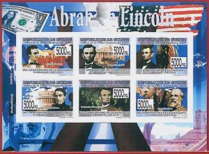 FRENCH GUINEA - ERROR, 2009 IMPERF SHEET: Lincoln, Kennedy, Politics, Flags
