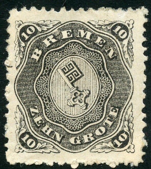 German States-Bremen Scott 14 - Unused VFHPG - SCV $190.00