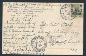 CHINA GERMAN P.O. 1906 POSTCARD TIENTSIN KIAUTSCHOU
