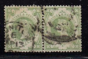 Great Britain Sc 122 1887 1/green Victoria stamp pair used