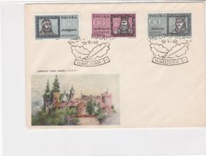 Poland 1961 Great Poles Castle pic Leafs Slogan Cancel FDC Cover Ref 25132