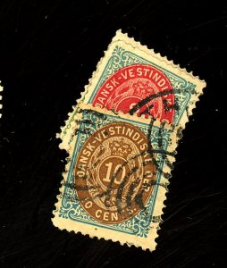 Danish West Indies #5-6,10 Used FVF Tiny Defects Cat$75