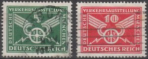 Stamp Germany Reich Mi 370-1 Sc 345-6 1925 Traffic Exposition Munich Empire Used
