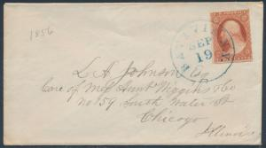 #10 VF WITH ENCLOSURE BATAVIA, NY TO CHICAGO, IL SEPT 19,1856 CV $215 BS6759