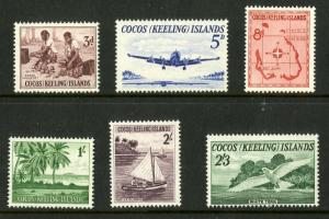 COCOS ISLAND 1-6 MNH SCV $26.25 BIN $13.00 PLANE, BOAT, PEOPLE AND BIRDS