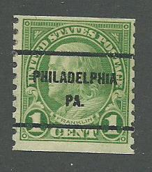 1923 USA Philadelphia, PA  Precancel on Scott Catalog Number 597