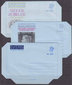 Great Britian unused Air Letter Sheets, 3 different F-VF Aerogrammes
