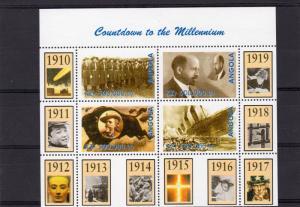 Angola 1999 Countdown to the Millennium/TITANIC (1910-1919) Sheetlet (4) MNH