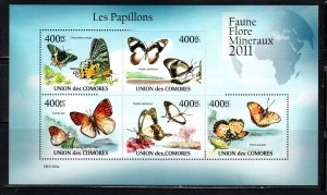 UNION DES COMORES COMORO ISLANDS  BUTTERFLIES SOUVENIR SHEET  LOT B87