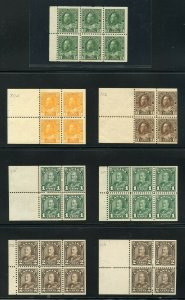 CANADA 1911/35 GEORGE V GRUP OF 11  BOOKLET PANES SC#105a//218a MINT NH AND 2 LH