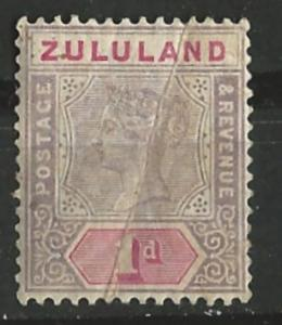 Zululand # 16  Queen Victoria 1894   - diagonal crease  (1) Unused