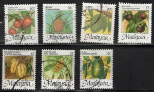 Malaysia Scott 329-335 Used Flruit stamps good start to a great set