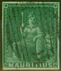 Mauritius 1858 (6d) Green SG27 Good Used