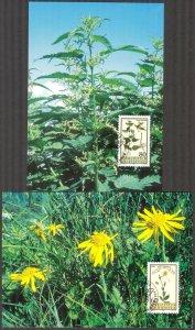 Liechtenstein 1995 Plants Flowers 4 Maxi Cards FDC 2 scans