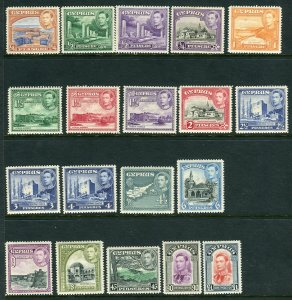 CYPRUS-1938  A mounted mint set of 19 values Sg 151-63