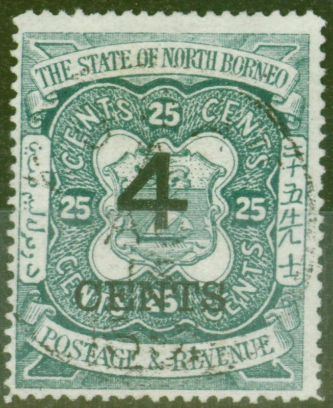 North Borneo 1899 4c on 25c Indigo SG118 V.F.U