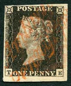 Penny Black (TE) Plate 1b (vertical crease) 4 Margin Amlwch Penny Post Cat 5500