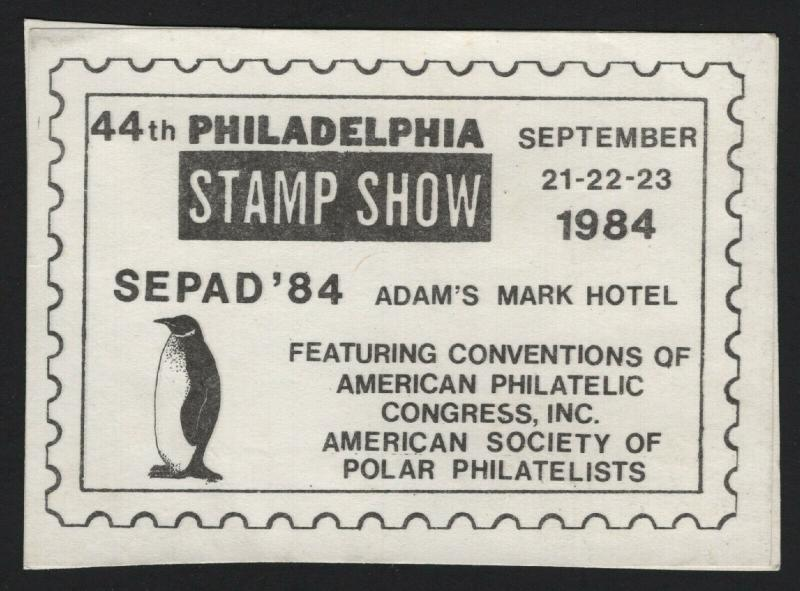 United States MINT SEPAD 84 STAMP SHOW CARD VF - BARNEYS