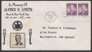 USA 1945 CROSBY photo FDC to New Zealand - 3c Alfred E Smith...............55568