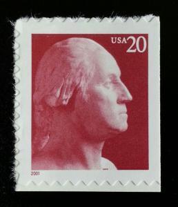 2001 20c George Washington, Booklet Single Scott 3483 Mint F/VF NH