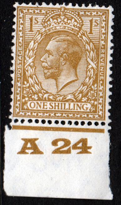GB KGV 1924 1/- 1s Bistre-Brown SG429 Control A24 Mint Hinged