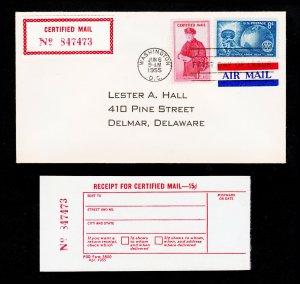 U.S. SCOTT #FA1 CERTIFIED MAIL FDC UPRATED W/ SCOTT #1066 MATCHING RECEIPT 1955