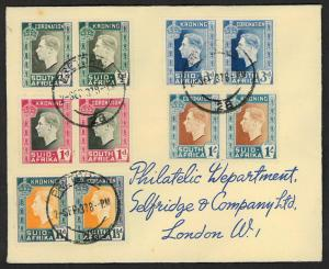 South Africa 1937 Sc#74-78 Coronation of George VI cover to London
