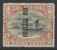 North Borneo SG D20 MH 8c Opt Postage Due perf 14½ x 15 see details & scans