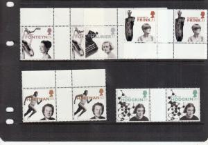 1996 WOMEN OF ACHIEVEMENT GUTTER PAIRS FULL SET UMM SG1935-SG1939
