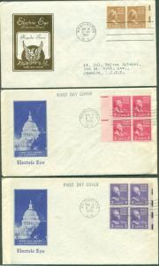 US #805-7 Prexie Electric eye FDC's, Ioor cachets, VF, Mellone $45.00