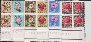 AUSTRALIA 1968 State Flowers set in corner blocks of 4 MNH...................753