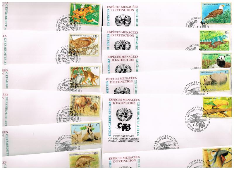 UN STAMP WILD LIFE FDC COLLECTION LOT (12 COVERS)