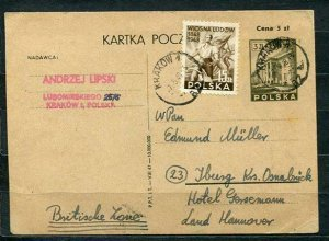 Poland 1948 PSC/Card UPR Krakow to Hannover British Occupation Zone in Germany