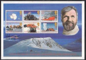 BRITISH ANTARCTIC 2000 Antarctic Exploration S/S; Scott 288, SG 319a; MNH