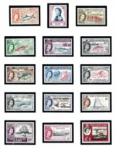 Turks and Caicos  121-35 MNH 1957-60 Definitive Set