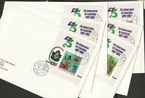 Guinea Bissau, Scott cat. 428-431, C41-42. Scouts IMPERF. 6 First day covers. ^