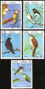 CUBA Sc# 2121-2125  INDIGENOUS BIRDS  Cpl set of 5  1977  used / cancelled