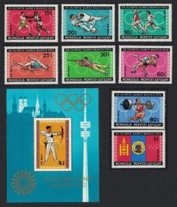 Mongolia Olympic Games Munich 8v+MS SG#677-MS685