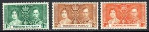 TRINIDAD & TOBAGO  1937 coronation set       M- MINT