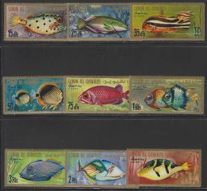 Umm al Qiwain Mi189-197 MNH Set of 9 Exotic Fish