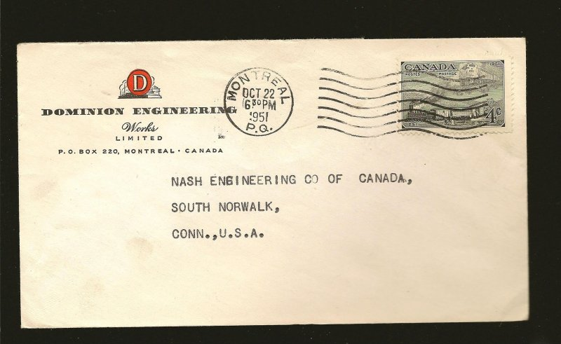 Canada 311 on Postmarked 1951 Montreal P.Q. Advertising Cover Used
