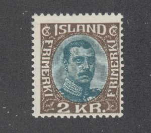 Iceland Sc 127 MLH. 1920 2kr King Christian X, small gum crease, fresh & bright