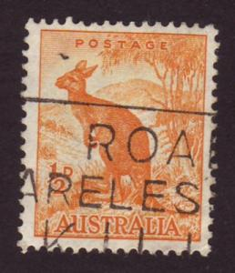 Australia 1949 Sc#223A 1/2d Orange Kangaroo Animals Wildlif...