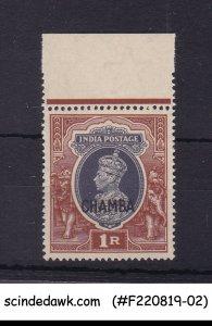 CHAMBA STATE - 1942-47 1r KGVI OVPT SG#102 1V - MINT NH