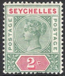 SEYCHELLES-1890-92 2c Green & Carmine Die I Sg 1 LIGHTLY MOUNTED MINT V50061