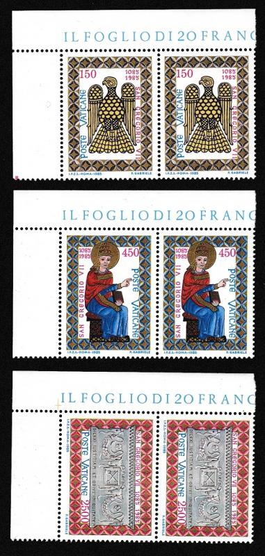 Vatican 900th Death Anniversary of Pope Gregory VII 3v Corner Pairs SG#839/41