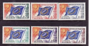 France-Sc#1O10-15- id2-Unused NH set-Conseil De L'Europe-Flags-1965-71-