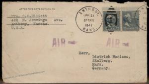 USA 1941 15c Buchanan Prexie Anthiny KS Germany Censor Transatlantic Cover 86030