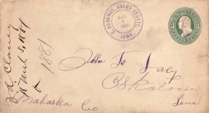 United States Iowa E. Nodaway Adams County 1881 violet double ring cds  1867-...
