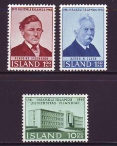 Iceland Sc 342-4 1961 anniversaries stamp set mint NH